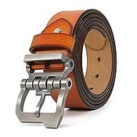 "JingHao Designer Belts for Men Big and Tall Genuine Leather Belt for Jeans All Size 28-64"" Black Brown Aa10 (34""-36""/ Belt Length 115cm, Brown)"