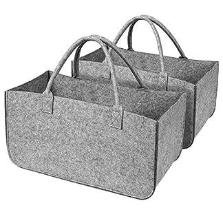 Homfa 2Pcs Bolsa Compra Reutilizable Bolsa Fieltro Plegable para Almacenamiento Cesta de Leñas con Mangos 49×25.5×25.5cm Gris