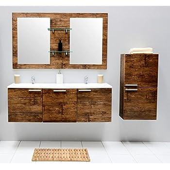 Amazon.de: Badmöbel-Set mit Waschbecken Spiegel Unterschrank ...