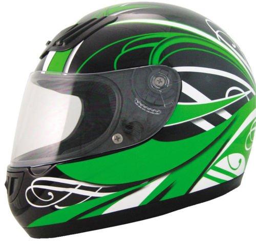 WinNet Casco da moto stradale integrale verde kawasaki omologato