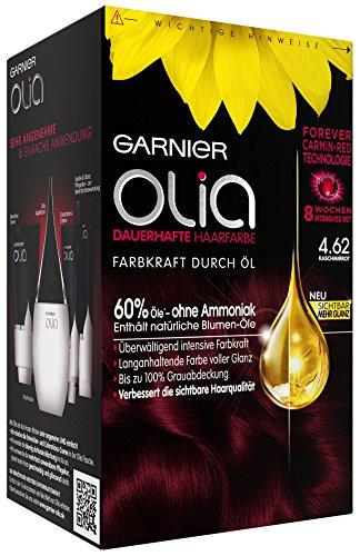 Garnier Olia Haar Coloration Kaschmirrot 4.62 / Färbung für Haare enthält 60% Blumen-Öle für 8 Wochen intensive Farbkraft - Ohne Ammoniak - 3 x 1 Stück