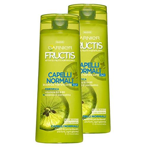 Garnier Fructis Shampoo Capelli Normali 2in1 con vitamine B3 e B6, senza Siliconi e senza Parabeni - Confezione da 2 Unità
