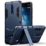 Nokia 8 Tasche, Terrapin Silikon + Polycarbonat Hülle mit Standfunktion für Nokia 8 Hülle - Dunkelblau