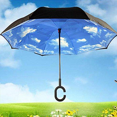 """Glaray Ombrello Invertito Apertura e Chiusura al Contrario, Impugnatura Comoda a Forma """"C"""", Comodo Specialmente per Entrare nell'Auto o per chi Portando Qualcosa a Mano (Cielo Azzurro)"""