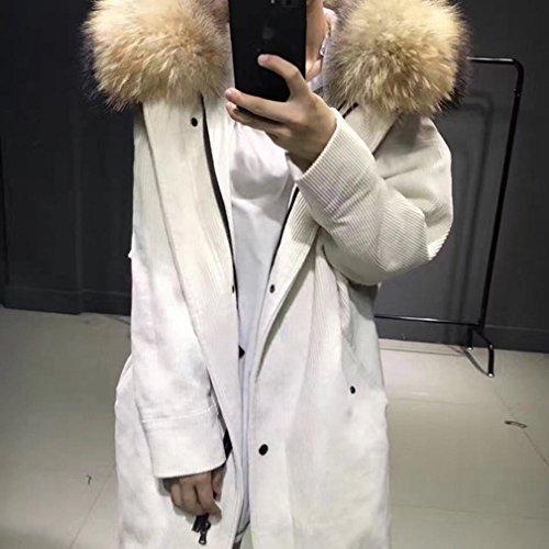 MRX Fashion Lose Daunenjacke Winter Frauen Cord Parker Jacke Weiße Ente Unten Militäruniformen Daunenjacke,Weiß,M