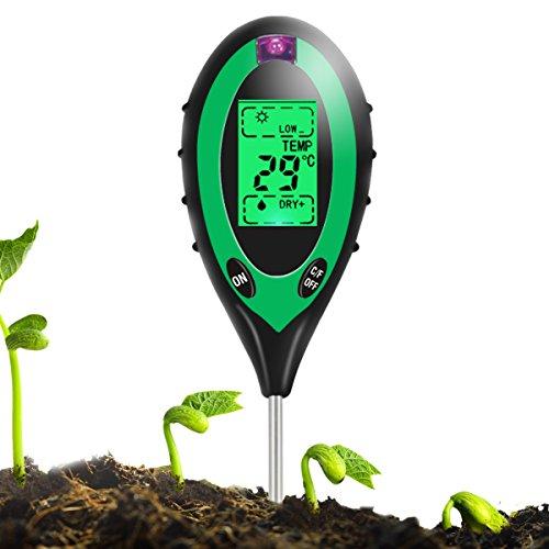 Sopoby 4 in 1 Bodentester Boden test Bodenmessgerät Bodenfeuchtigkeitsmessgerät Boden PH-Wert Temperatur Luftfeuchtigkeit Sonnenlicht für innenbereich/Außenbereich Wasser Licht Test ( Keine Batterie im Lieferumfang enthalten )