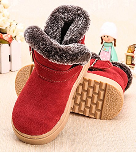 La Vogue Boots Bottine Neige Simili Cuir Fourrée Chaude Botte Hiver Classique Enfant Mixte Rouge