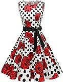 Gardenwed Damen Vintage 1950er Partykleid Rockabilly Ärmellos Retro Cocktailkleid White Rose Dot 3XL