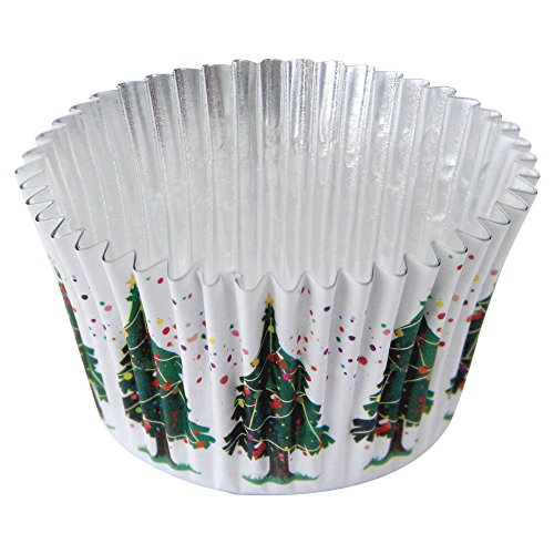 PME Christmas Tree Foil Lined Baking Cases for Cupcakes, Standard Size with Deeper Fill, Pack of 30