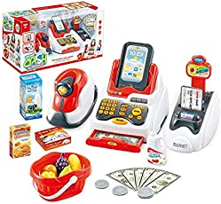 FunBlast Pretend Play (Set of 24 Pcs) Supermarket Cash Register with Scanner, Swipe Machine, Credit Card, Coins (Multicolor)