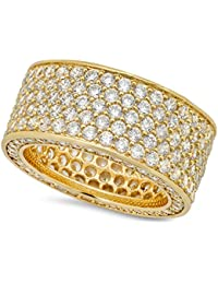 The Bling Factory Hip Hop 14k Gold Plated Iced Out Micropave CZ 13mm Eternity Band Ring + Microfiber Jewelry Polishing Cloth