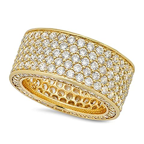 Hip Hop 14k Gold überzogen Iced Out Micropave CZ 13mm Eternity Band Ring