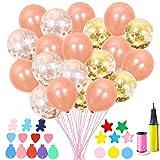 EQLEF Kit di Palloncini coriandoli, Palloncini in Lattice Premium in Oro e Oro 12 Pollici con Palloncini con Palloncini per la Festa di Fidanzamento di Compleanno (40 pz)