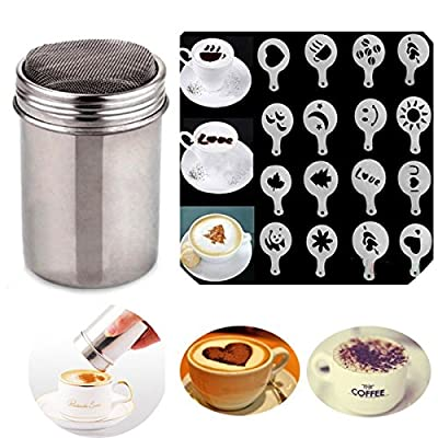 Gemini_mall® Stainless Chocolate Shaker Icing Sugar Salt Cocoa Flour Coffee Sifter with Lid