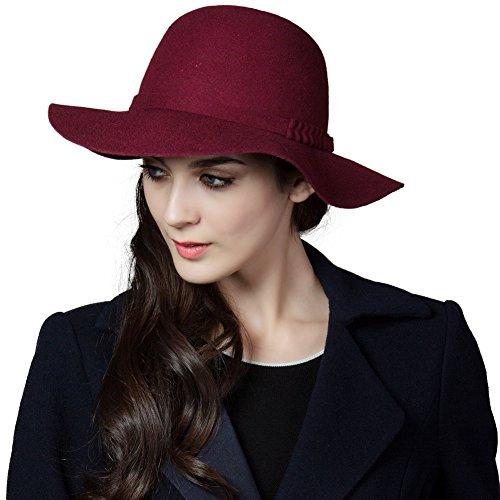 SIGGI weinroter Wolle Filzhut Reto Kirche Hüte für Damen Winter bereit Krempe verschiedene Farben
