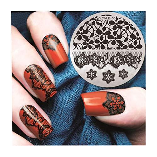 AMUSTER Nail Art Impression Plaque Image Stamping Plates Outil de manucure Gabarit (D)