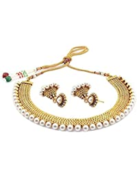 M Creation Jewellery Traditional Pearl Temple Coin Necklace Set / Jewellery Set With Earrings For Women
