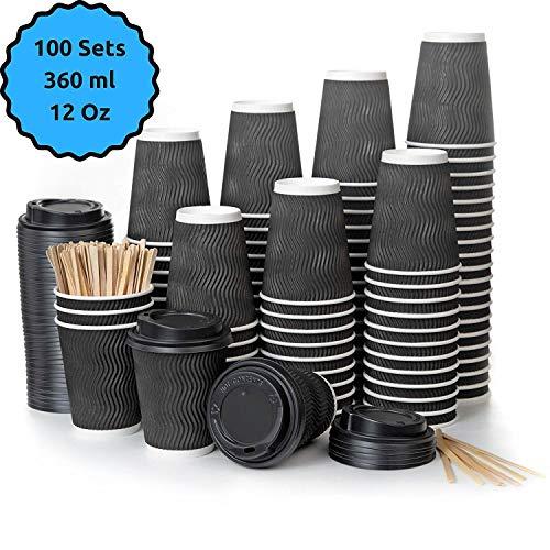 100 bicchieri carta a doppia parete nero ripple per prendere il caffè – tazza con coperchio di 12 oncia per prendere il caffè con le stiratrici di legno per il prendere il caffè, il tè, le bevande cal