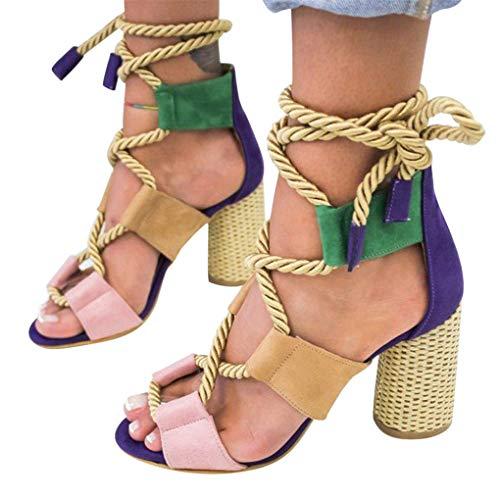 Sommerschuhe für Damen,Dorical Frauen Sandaletten,Vintage Absatzschuhe,Casual Wildleder Schuhe,Bandage Damenschuhe,Rutschfest 35-43 EU Ausverkauf (4.5cm-7cm)(Dunkelblau,36CN=35EU)