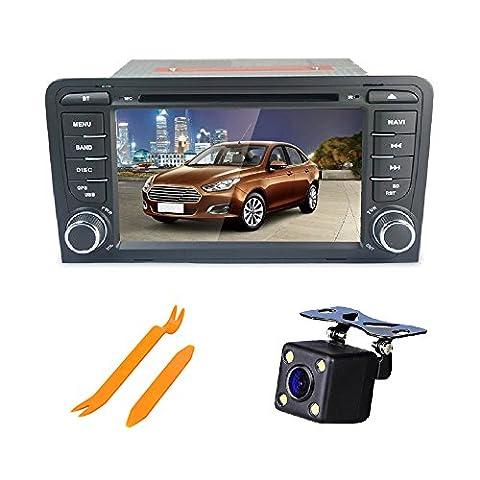 XSD Android 5.1 auto radio stereo - haupteinheit quad - core - doppel - din - navi mit 1024 * 600 touchscreen fürAUDI A3 unterstützung gps navigation auto - cd / dvd - player 1080p - video swc dvr reverse link wifi - kamera spiegel freien reverse kamera + 8g karte + externe