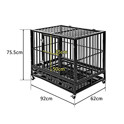 BTM Quality Heavy Duty Metal Pet Dog Cage Crate Kennel 4 wheels