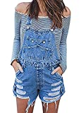 Lueyifs Damen Latzhose Denim Overall Distressed Jeans Kurz Jumpsuit Ripped Playsuit