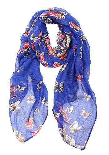 Frauen moderne Schal, Poncho, Stola mit Schmetterling Print-Design und Blumen-Vogel-Stil … (Vogel Kostüm Design)
