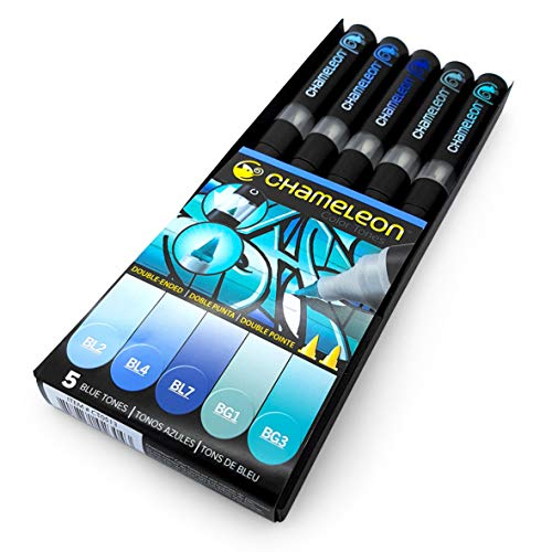 Chameleon Blenable Color Tones–Permanentmarker auf Alkoholbasis, Schreibgeräte, 5 Stück Blue Tones