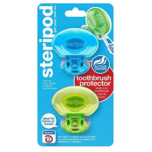 Steripod Zahnbürstenschutz zum Aufstecken, Blau, Grün, schützt vor Seife, I Dirt I Hair I Sand I für Reisen, Zuhause, Camping – Bleiben Sie frisch