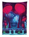ABAKUHAUS Fungo Tapetto da Parete e Copriletto, Funghi Magici con Il Colore Fluorescente Vivace Disegno Grafica, Colori Chiari, 110 x 150 cm, Blu