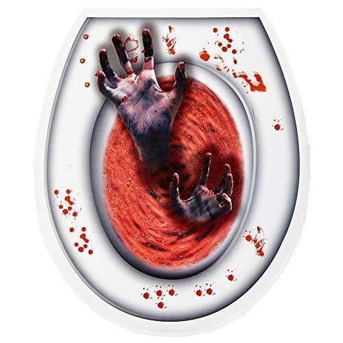 WIDMANN 05809 Toilettendeckel Aufkleber Zombie Hände, Unisex- Erwachsene, Mehrfarbig