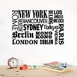 Adhesivo De Pared Letra Blanco Y Negro-Nueva York Londres París Cita Etiqueta De La Pared Nombres De Ciudades Del Mundo Vinilo Tatuajes De Pared Art Diy Home Office Decoración