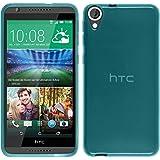 Funda de silicona para HTC Desire 820 - transparente turquesa - Cover PhoneNatic Cubierta + protector de pantalla