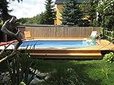 Massivholz-Swimmingpools 594 - Außenmaß: 376 x 714 cm, Wasserkapazität: 20,4 m³, Sandfilteranlage MAXI: vorhanden