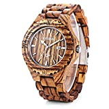 GBlife BEWELL W023A Men Wooden Watch With Date Display Retro Style