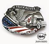 boucle mode Homme ceinture western homme country original cowboy Chauffeur de camion drapeau truck driver