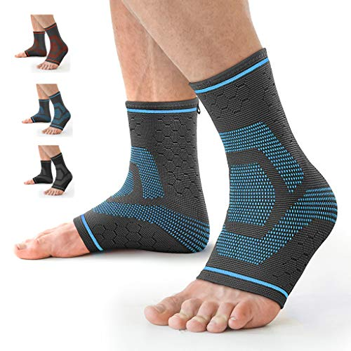 Awenia Fussbandage Fußbandage Fußgelenk Fersensporn Bandage Knöchel Laufen Sport Bandage Sprunggelenk für Männer Damen,Blau S