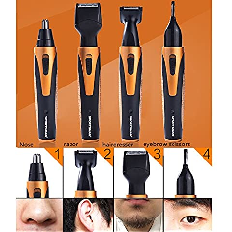 Avelaiva 4 in 1 Face Shaving Grooming Set, Waterproof Rechargeable 360 degree Nose Ear Hair Trimmer, Electric Beard Sideburn Eyebrow Underarms Hair Shaver Razor Remover