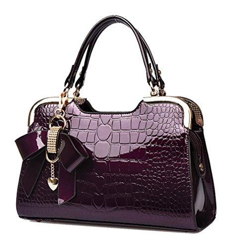 Yan Show Damen Schmetterlings-Anhänger Schulter Beutel Lackleder Handtasche Neu Krokodil Muster Handtaschen (Purple)