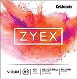 Juego de cuerdas para violín Zyex de D'Addario con Re de aluminio, escala 4/4, tensión media.