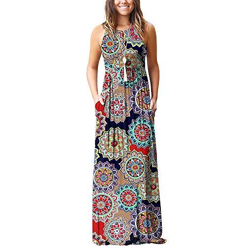 Mujer Vestidos Verano, Morbuy Elegante Mandala Exotico Casuales Fiesta Largos Flojo Tallas Grandes Chaleco Vestidos Bohemia Casual Playa Falda (2XL,Naranja)