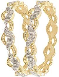 Zenene American Diamond Gold Plated Bangles Jewellery For Women / Girls