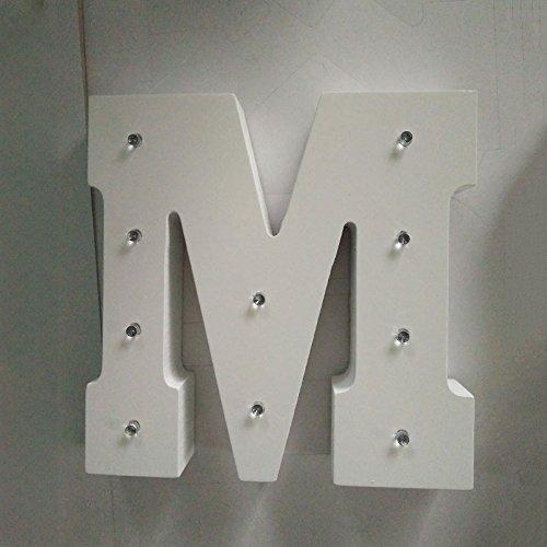Gladle 16cm hoch DIY kreative Wohnkultur weißer hölzerner Buchstabe LED Nachtlichter 1 PCS M