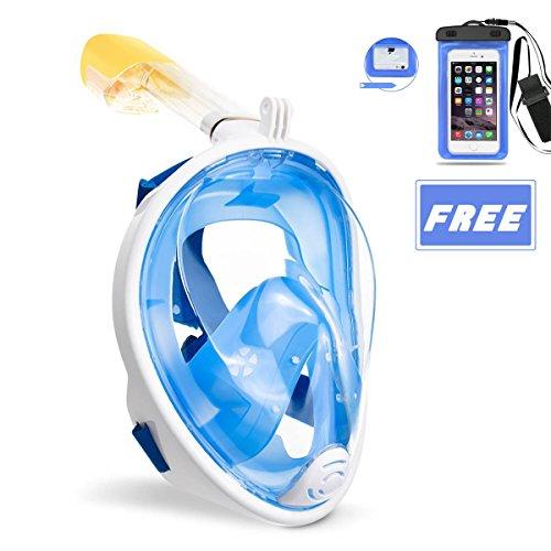 OCEVEN Schnorchelmaske Vollmaske, Tauchmaske Anti-Fog und Anti-Leck-Technologie mit 180 Grad Blickfeld für Kinder und Erwachsene (Blau, S/M) + IPX8 Wasserdichte Tasche (Blau) -