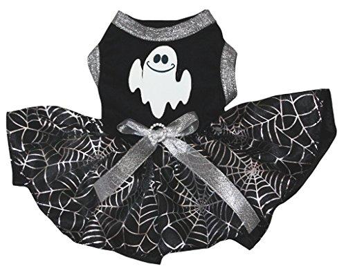 petitebelle Puppy Kleidung Hund Kleid Ghost schwarz Top Silber Cobweb Tutu (Kleid Tutu Ghost)