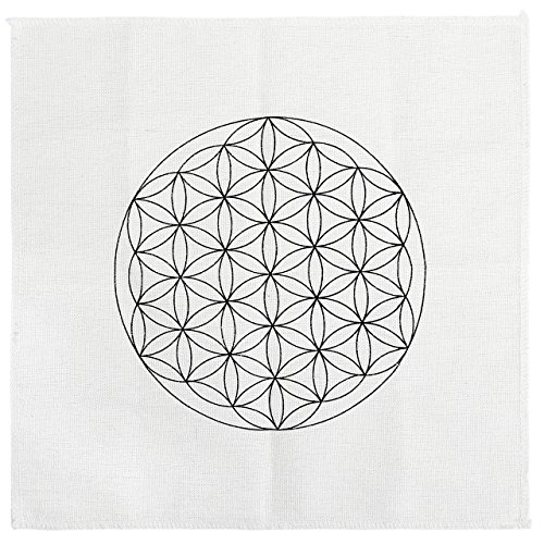 JOVIVI Gedruckte Blume des Lebens Heilige Geometrie Kristall Grid Altar Tuch Yoga Tuch 35 x 35cm (Grid-ziel)