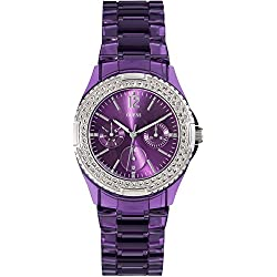 Guess (GVSS5) Women's Quartz Watch with Purple Dial Analogue Display and Purple Plastic Bracelet W0062L2