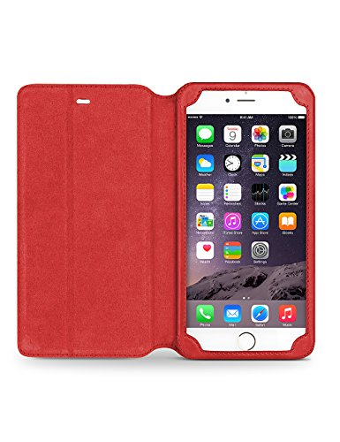 iPhone 6/6S/+ Plus Étui avec support, étui à rabat ultra fin en cuir véritable Housse de protection, qialino Étui ultra-fin pour téléphone, 11,9cm/14cm Protection d'Apple Cellule, Cuir, iphone6 plus iphone6 Red