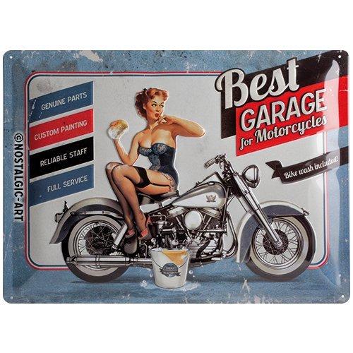 Nostalgic-Art 23142 Biker's Corner Best Garage, Blechschild, 30 x 40 cm, blau