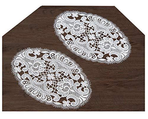 Deckchen Spitzendecke 2 Stück aus Spitze 15x24 cm oval